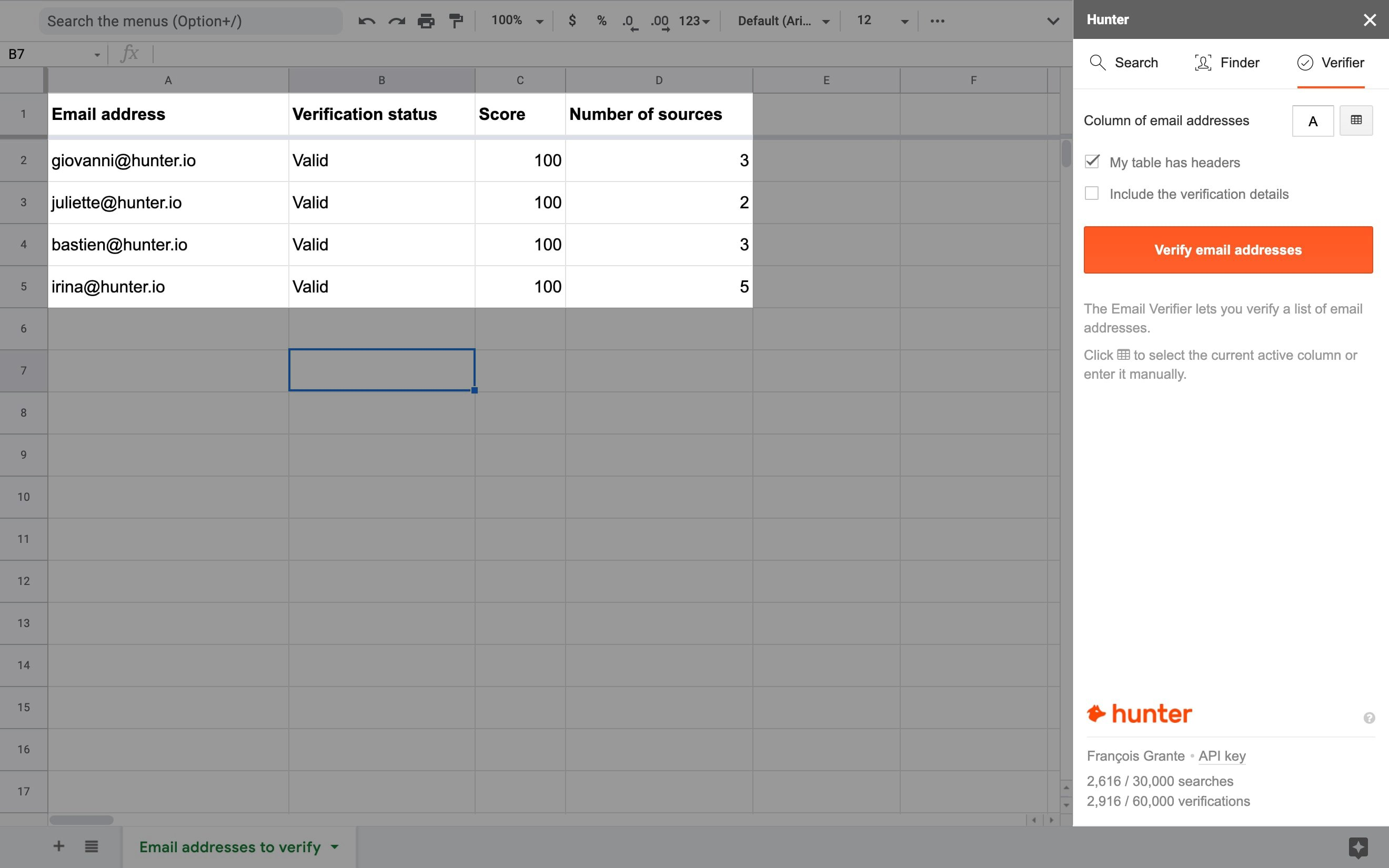Email Verifier in Google Sheets
