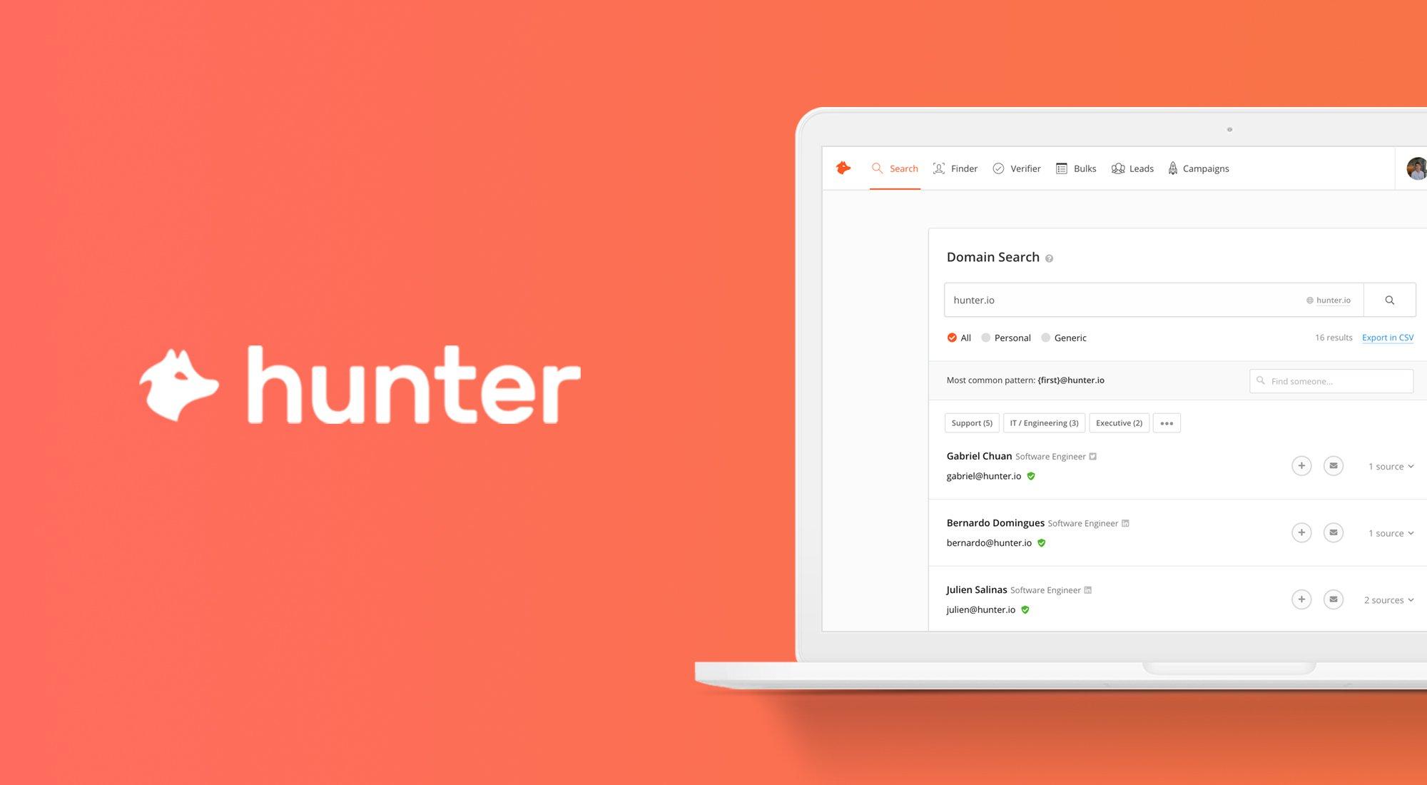 Find email addresses in seconds • Hunter Email Hunter