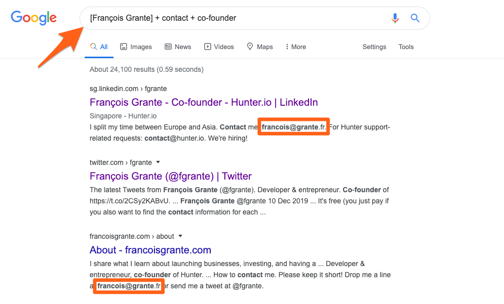 Example of how to use Google search query to find email address of Hunter's co-founder