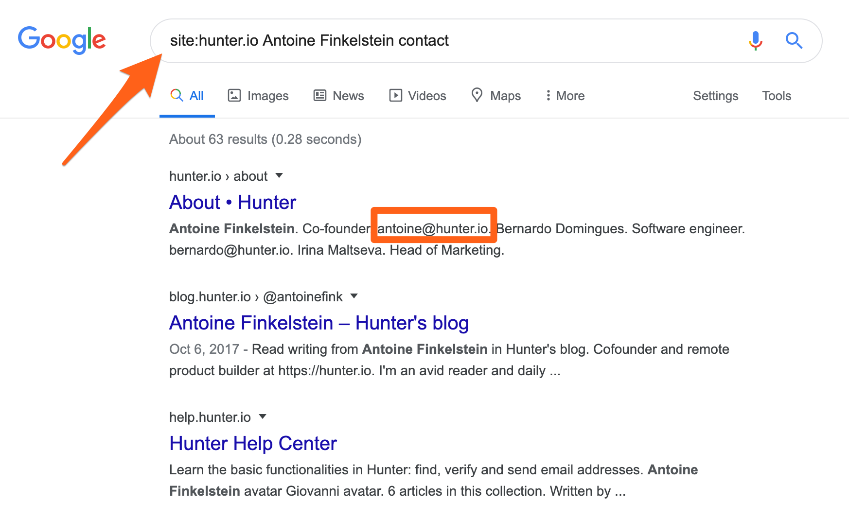 Example of how to find Hunter's co-founder email address using Google Search operators