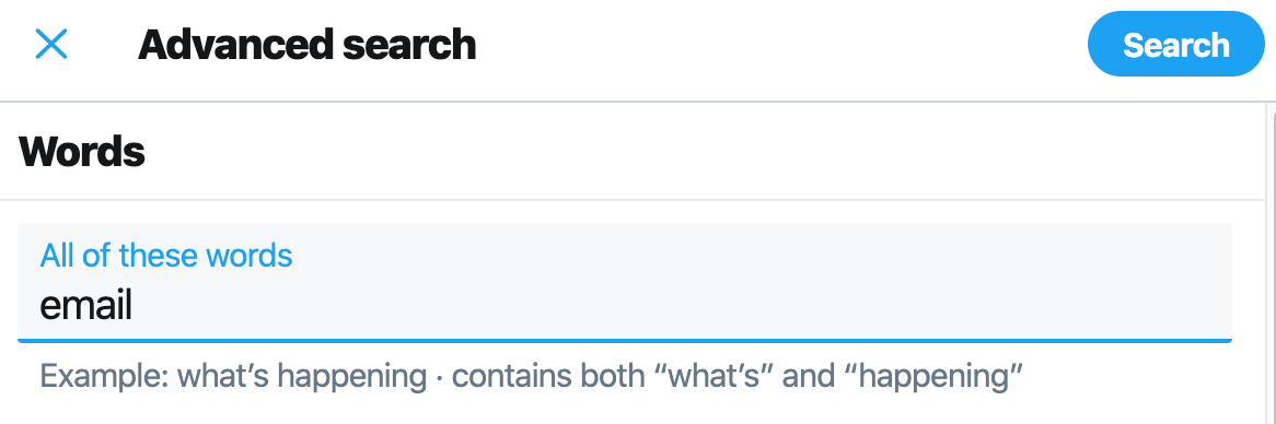 Find someone's email with Twitter Advanced Search