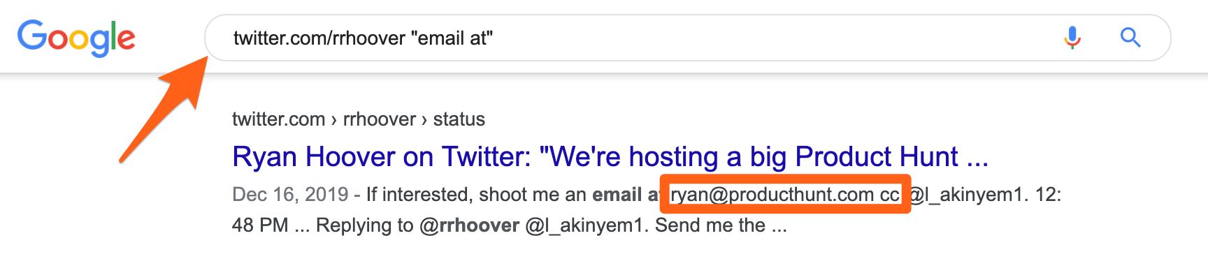 Find someone's email on Twitter using Google