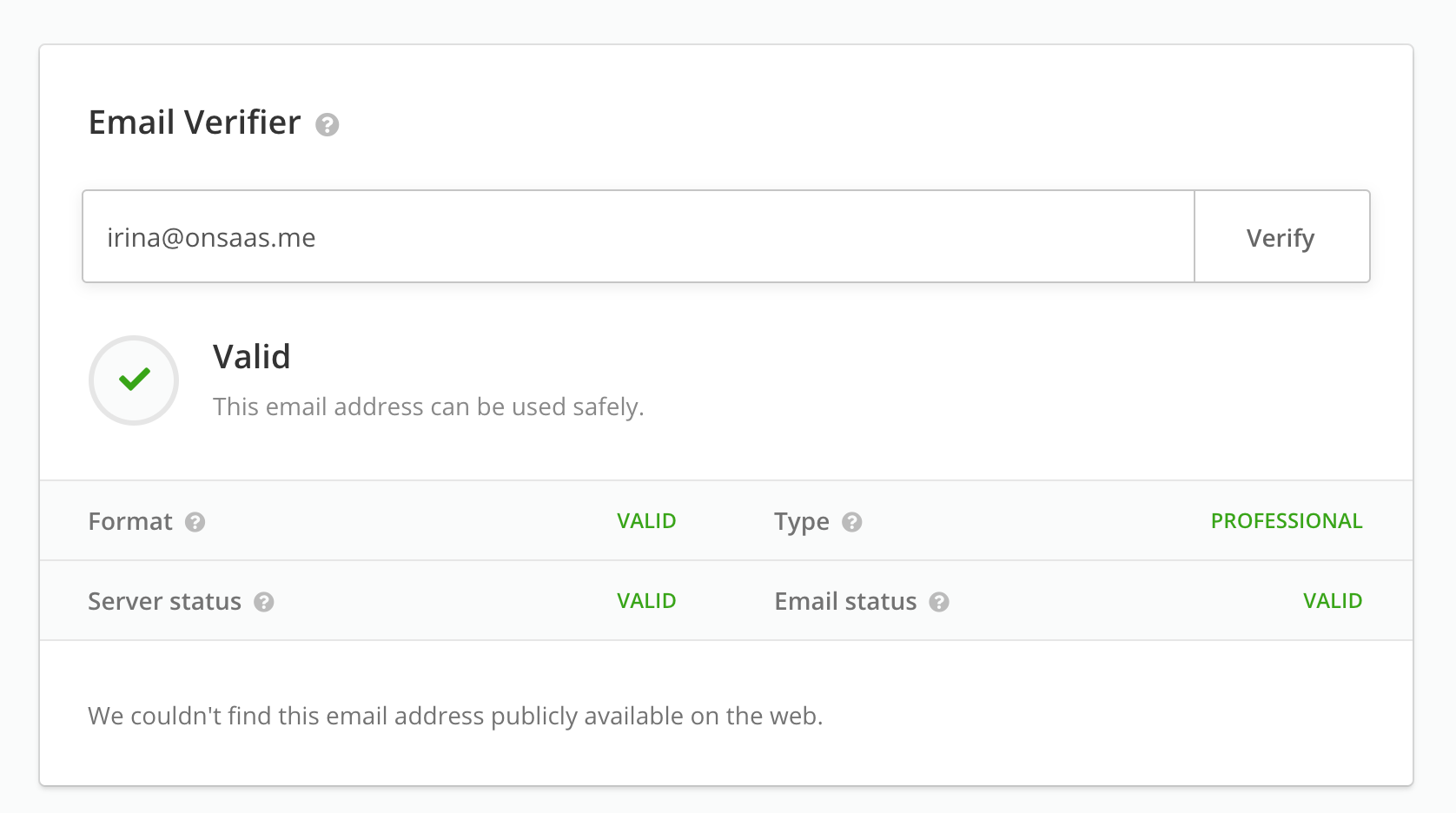 Hunter Email Verifier - verified email address