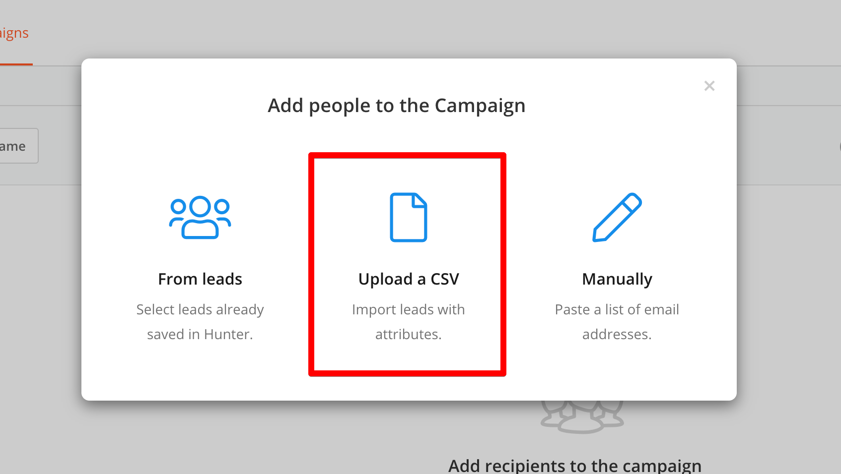Upload a CSV file to Campaign audience