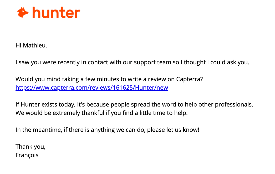 Hunter's email to get reviews from Capterra