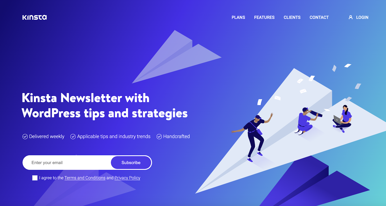 Kinsta's newsletter page with subscription form