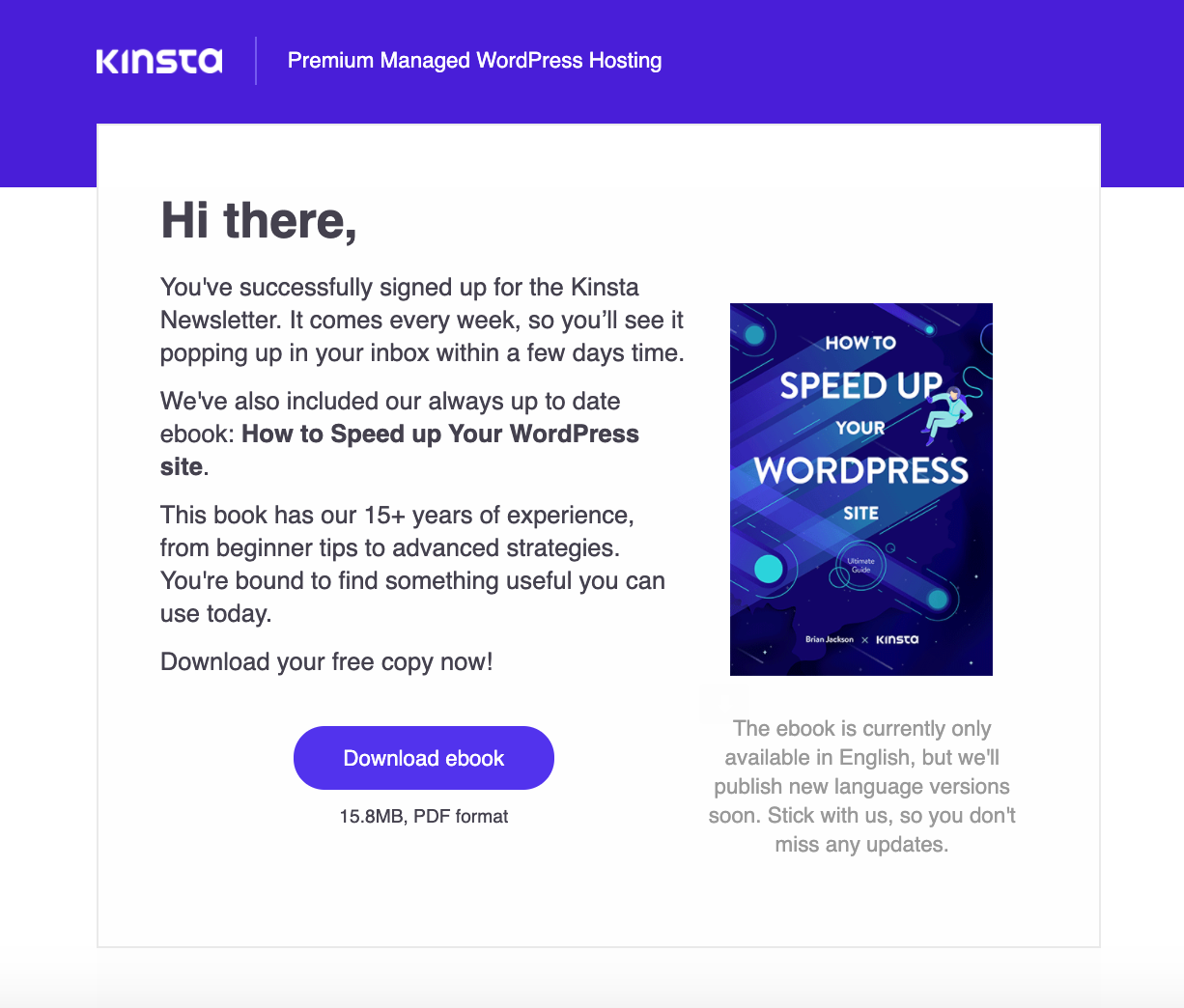 Kinsta's first email after newsletter subscription