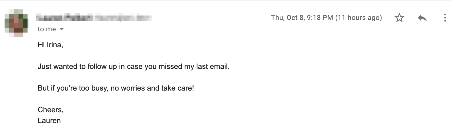 Follow-up email with no value