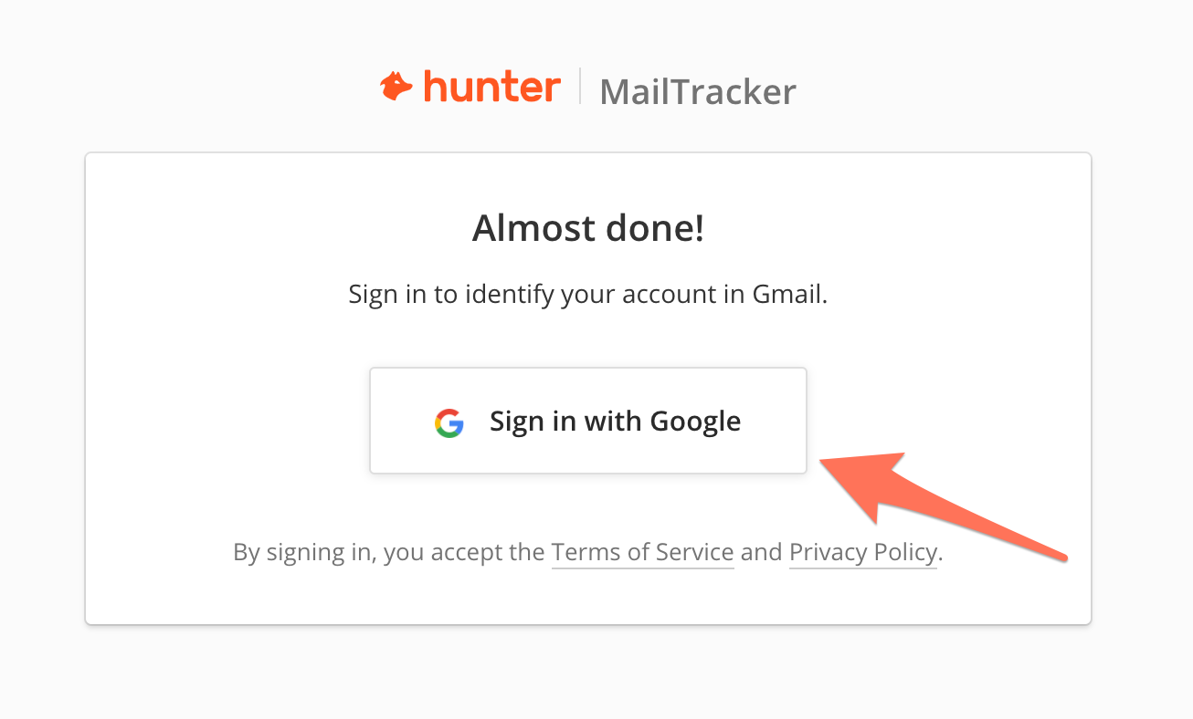 Connect Hunter MailTracker to Gmail
