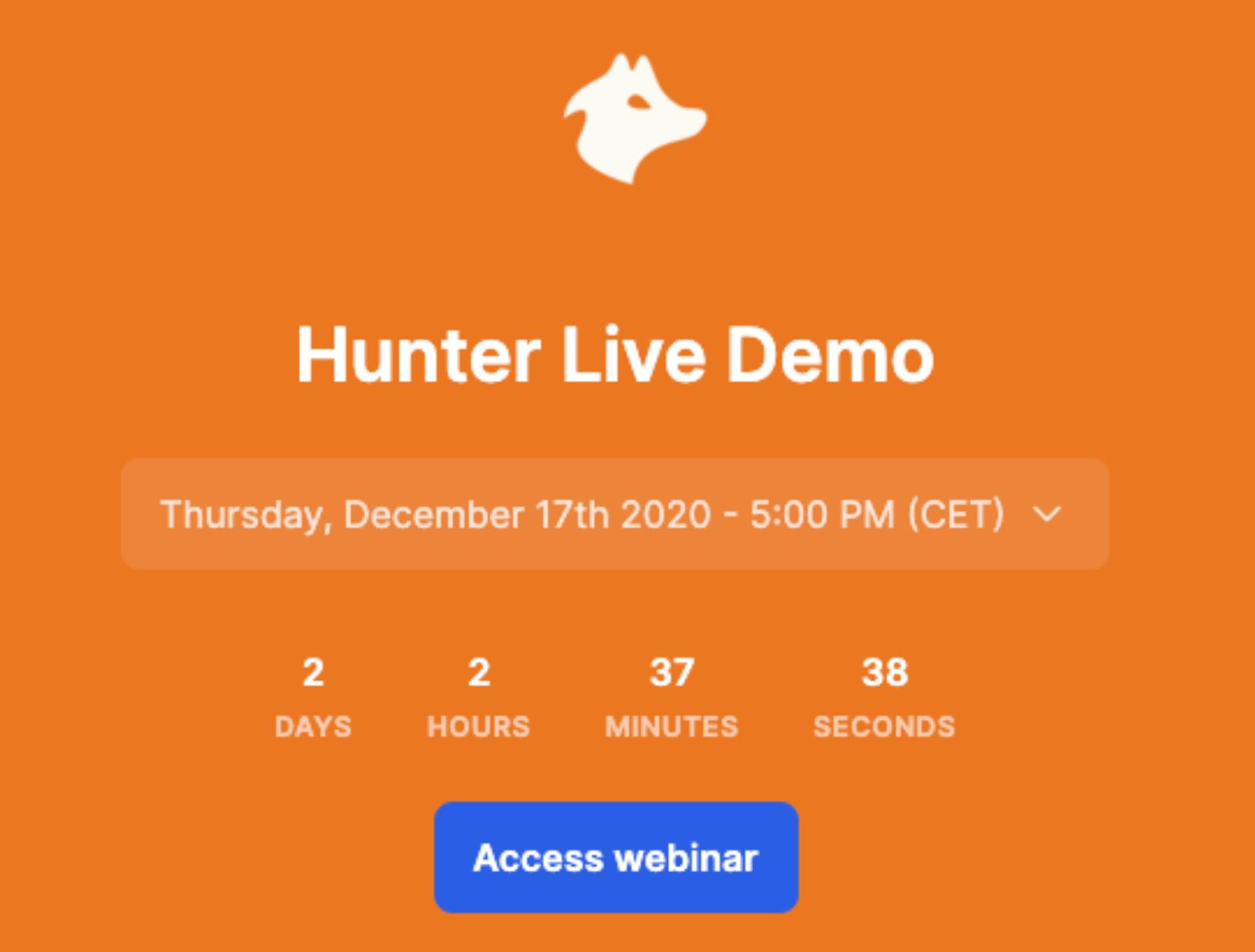 Hunter live demo