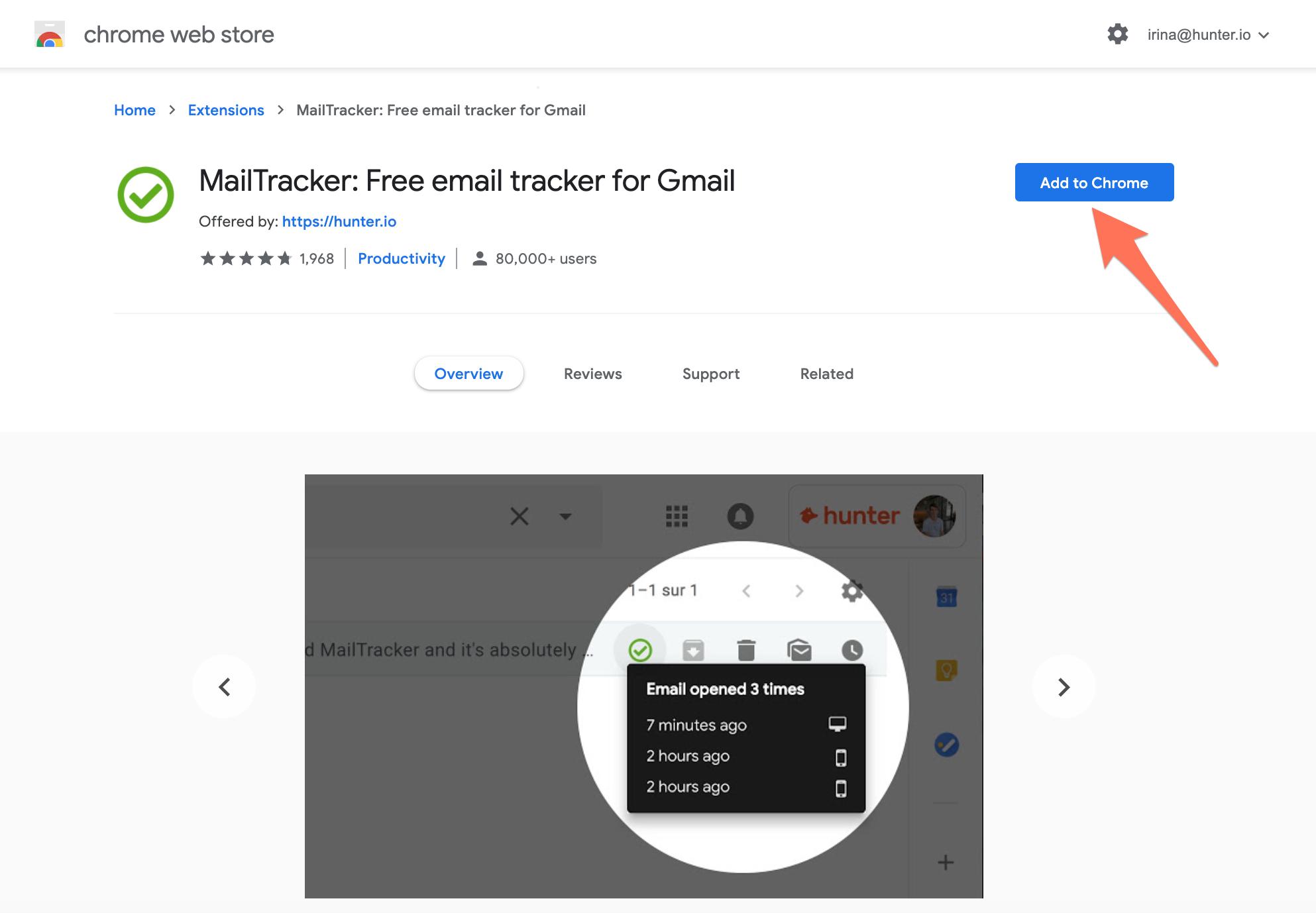 Install Hunter MailTracker