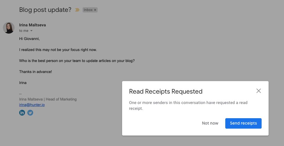 Request a read receipt pop-up