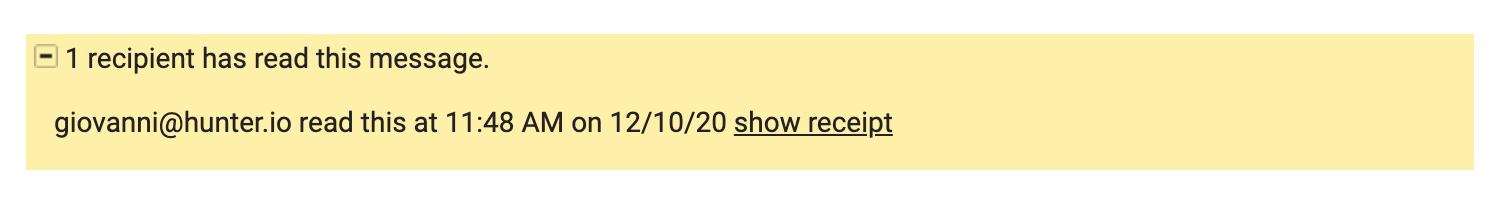 Read receipt notification