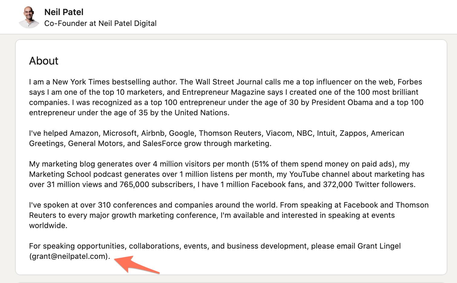 Email address in LinkedIn bio