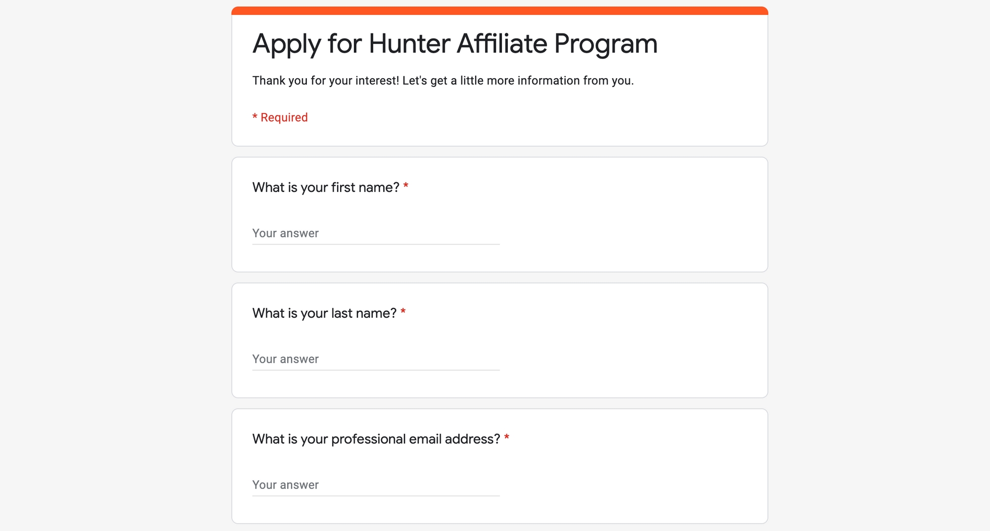 Hunter affiliate program form