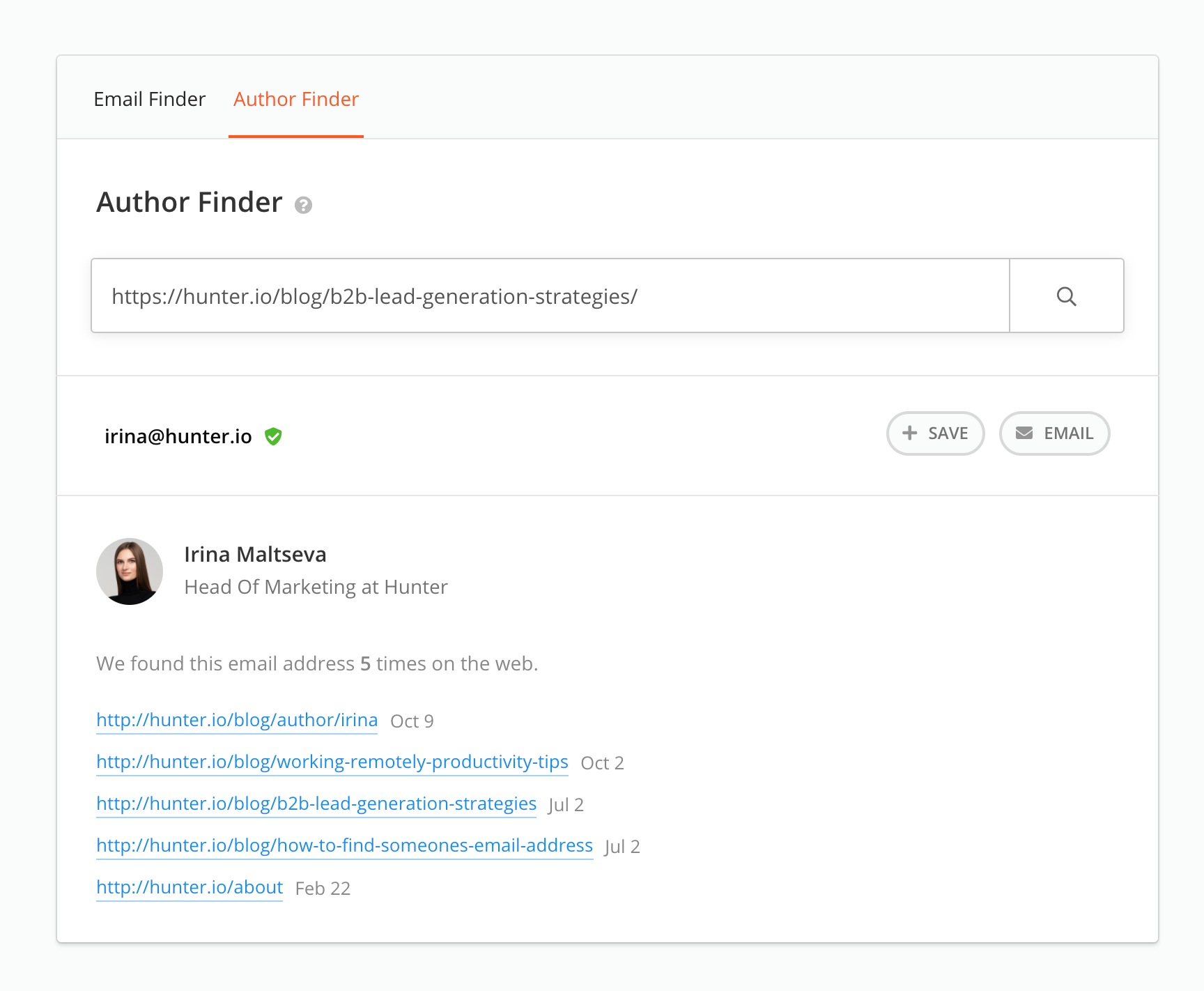 Example of Author Finder result