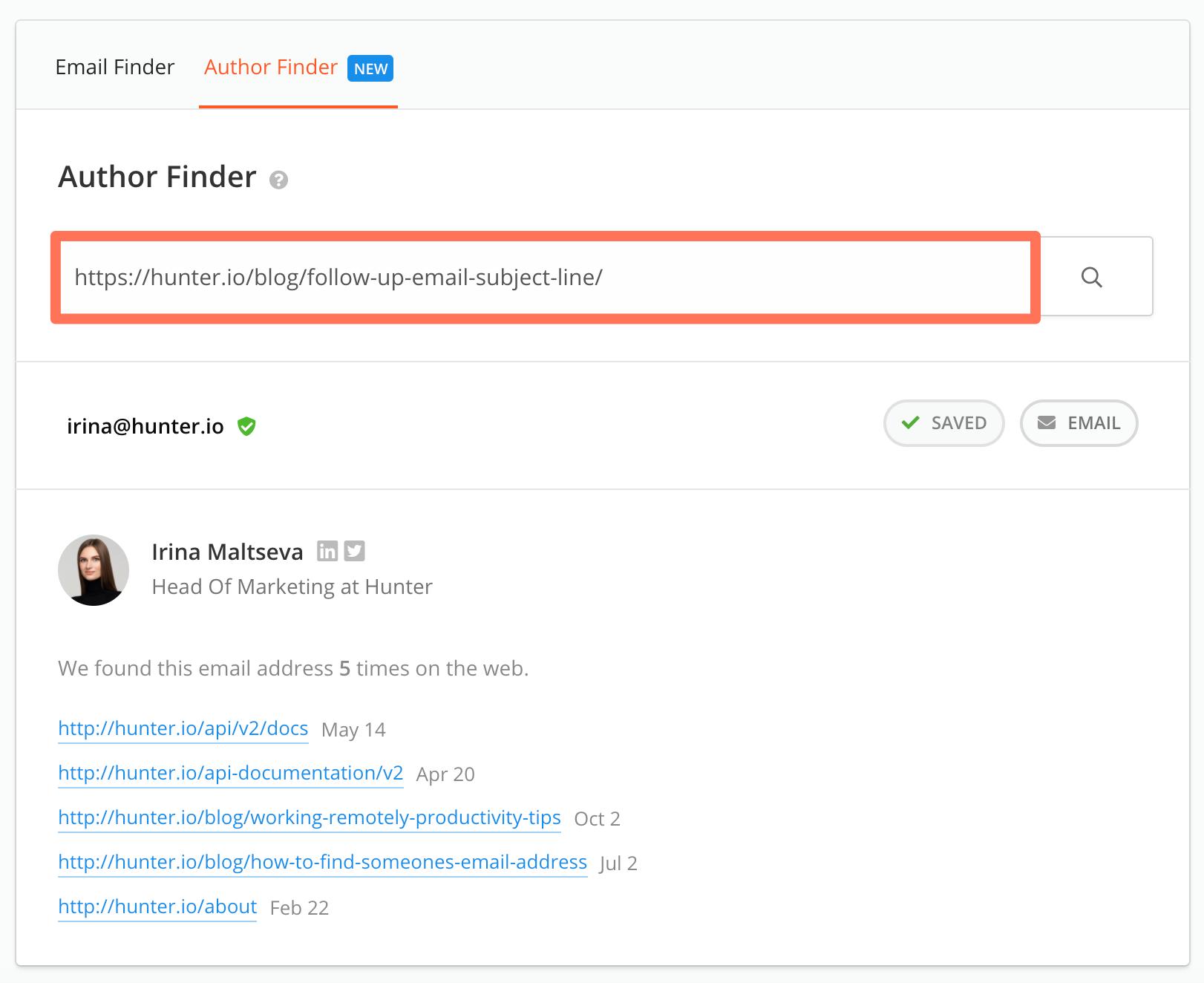 Author Finder result