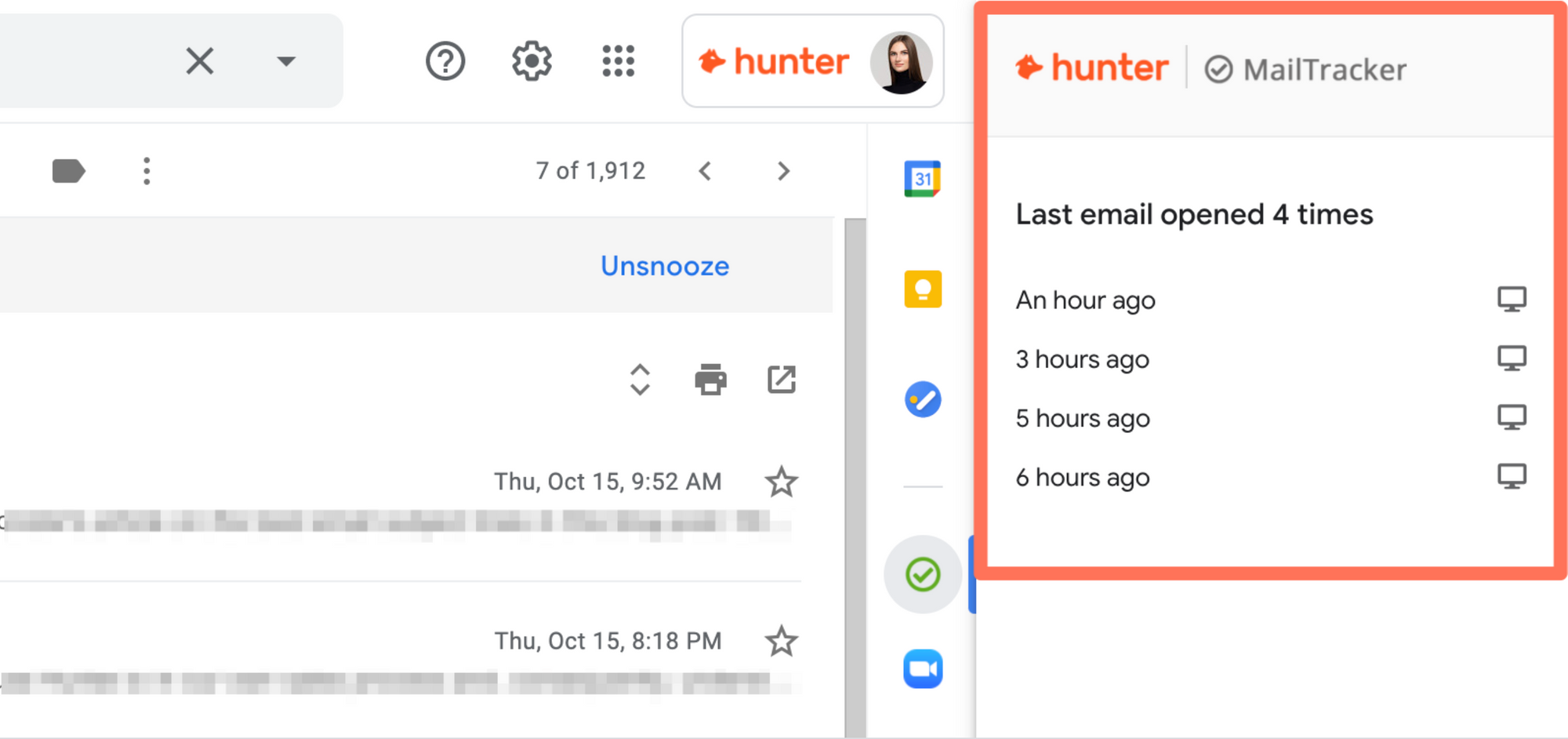 Email tracking for the smiper approach