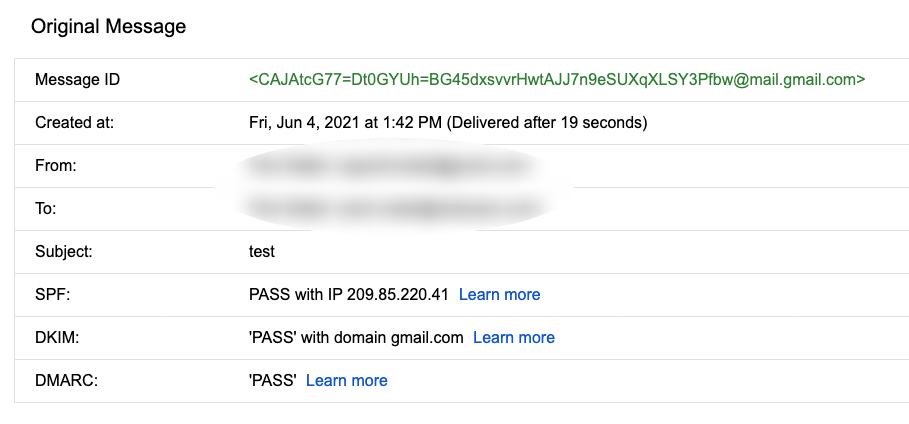 Authentication check in Gmail