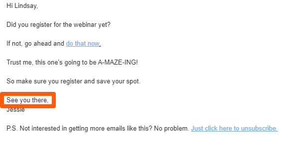 Example of an email sign off