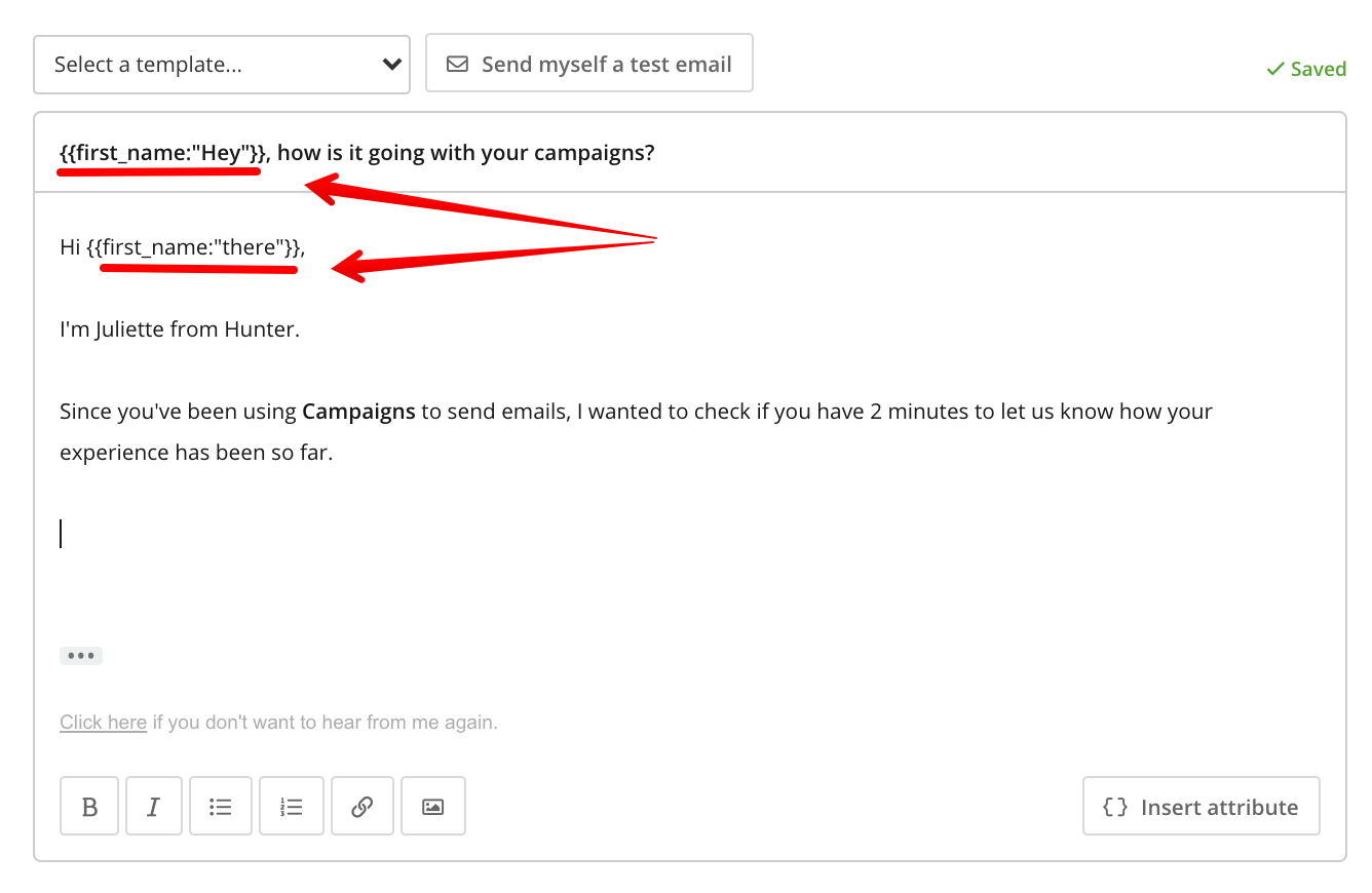 Example for personalization with fallback