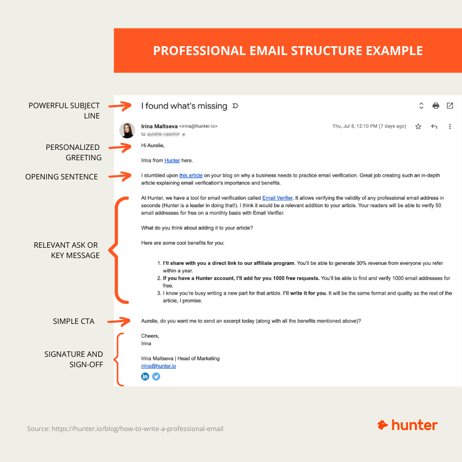 Professional email structure example