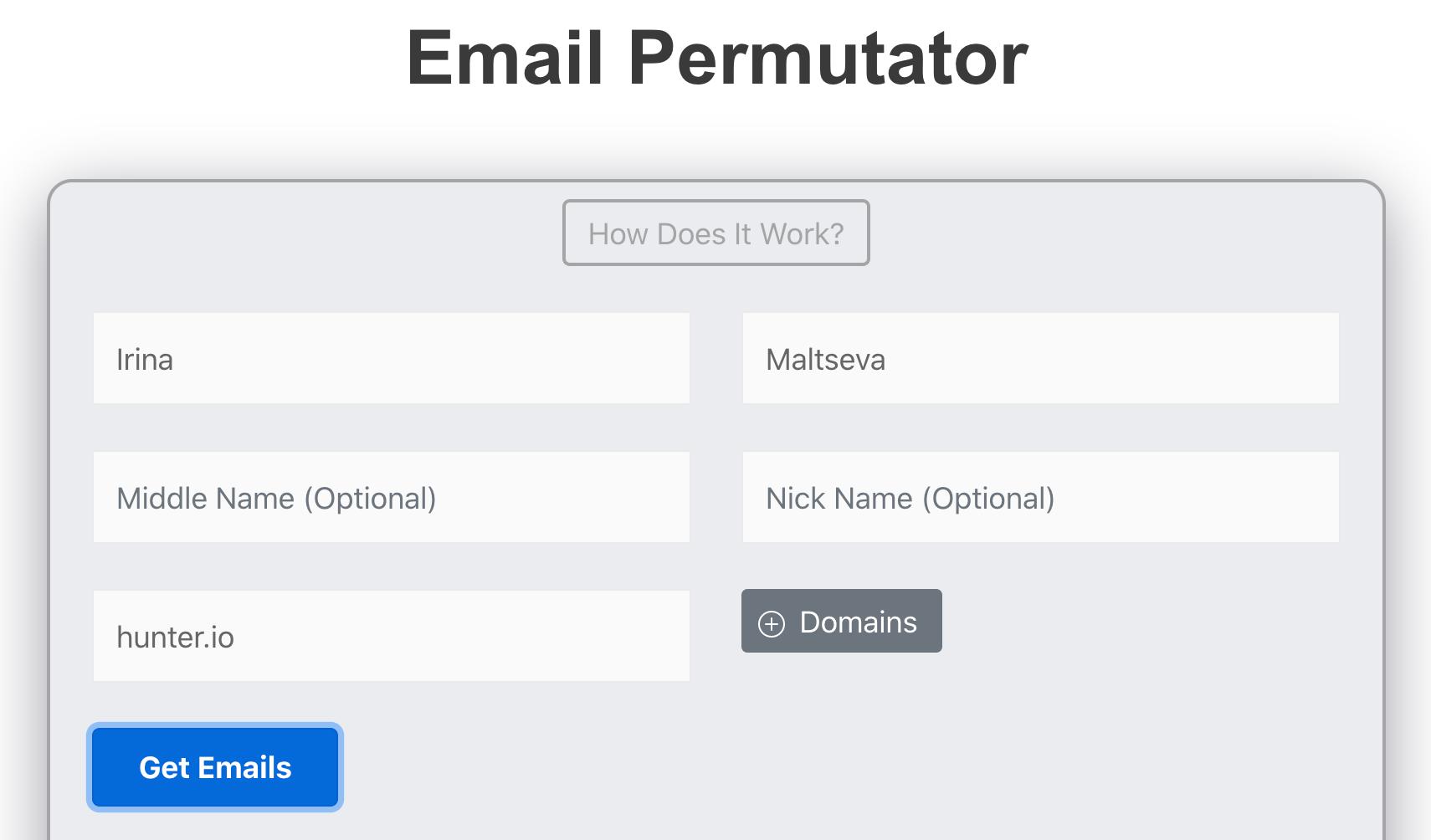 Email Permutator tool