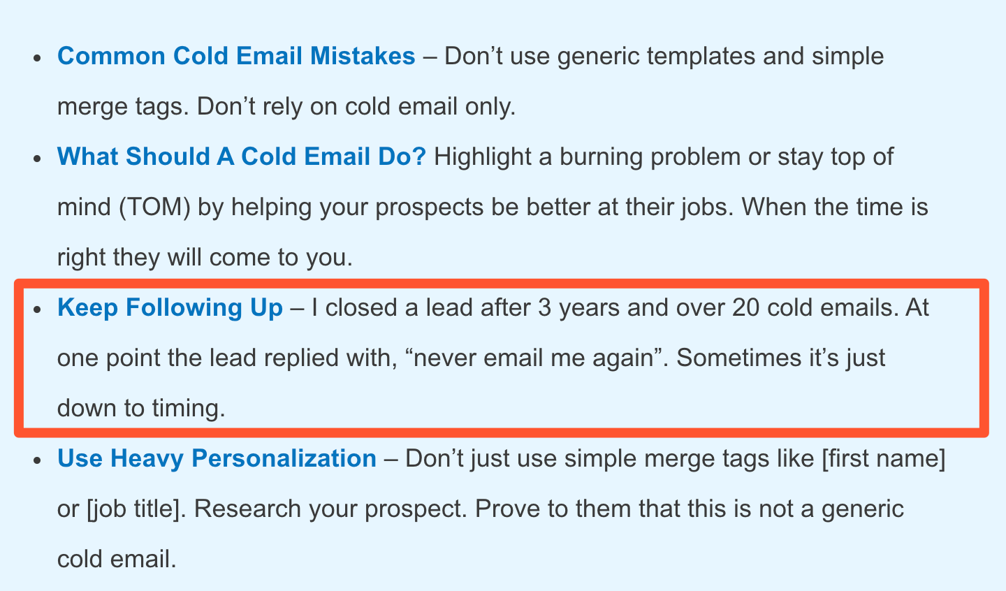 Importance of a cold email sequence