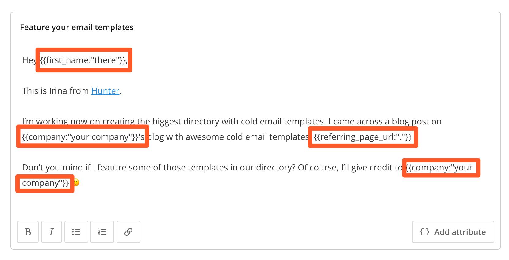 Custom attributes for personalization
