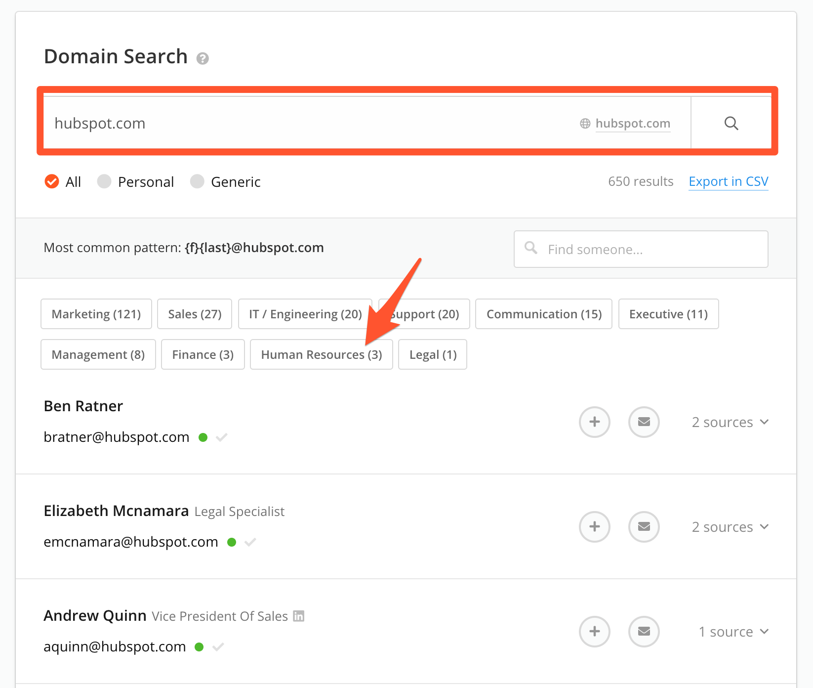 Use Domain Search to find company emails