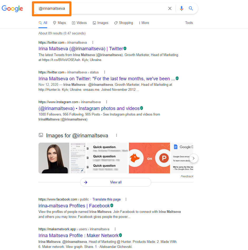 Find individual social networks with Google
