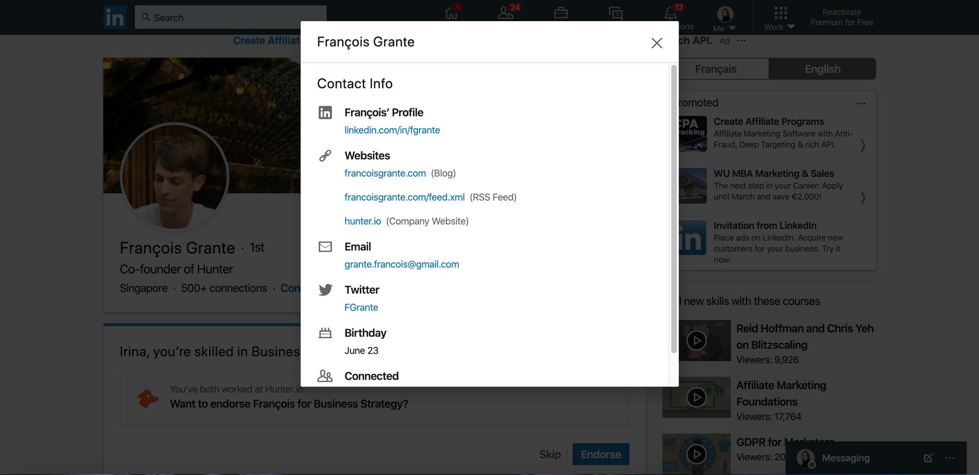 Find email address on LinkedIn