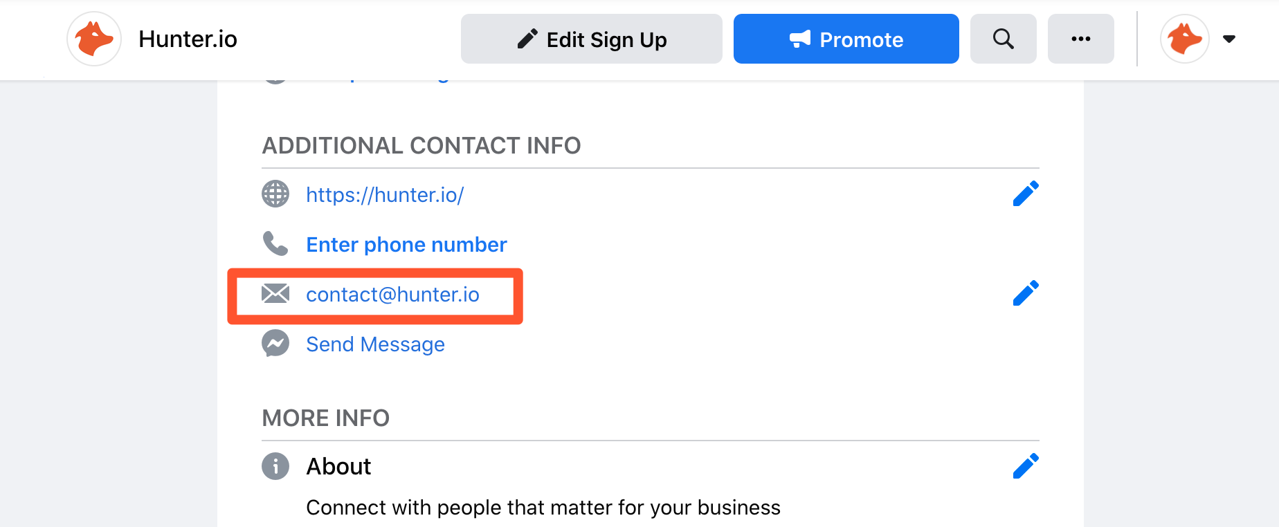 Find generic email address on company social media pages