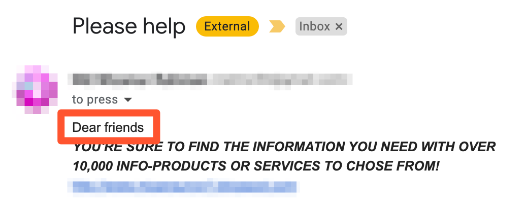 Bad cold email opening