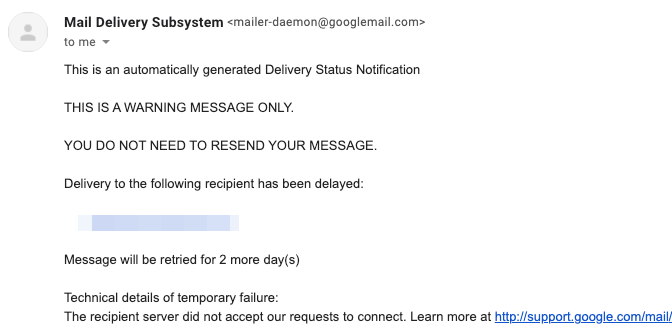 Email bounce message with next steps