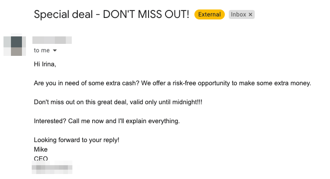 Example of a spammy email
