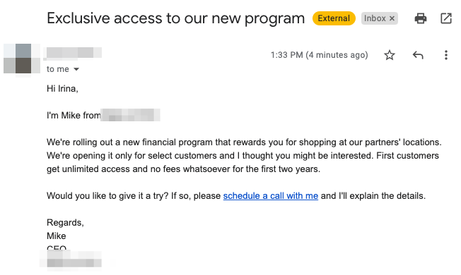 Example of mid-spammy email