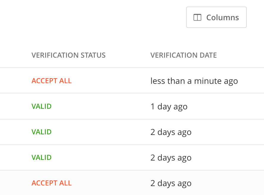 Verification columns in leads