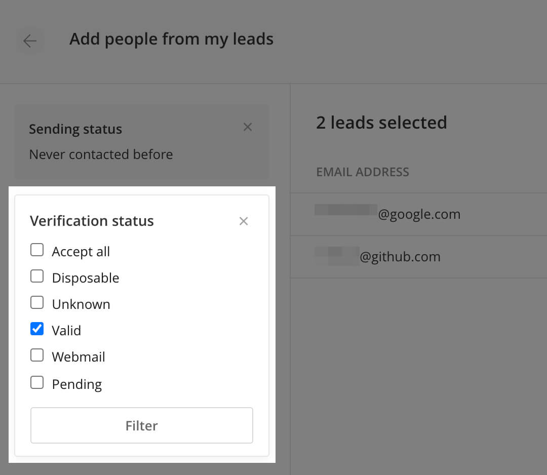 Filter by verification status in a campaign