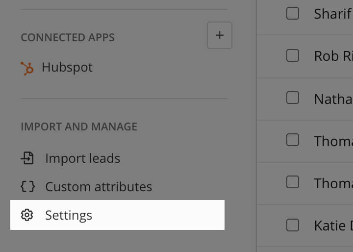 New settings section in the leads